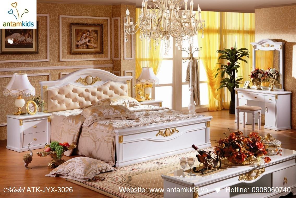 Phòng ngủ cổ điển ATK-JYX-3026 cao cấp tuyệt đẹp, Noi That Co Dien AnTamKids, noi that phong cach co dien chau au