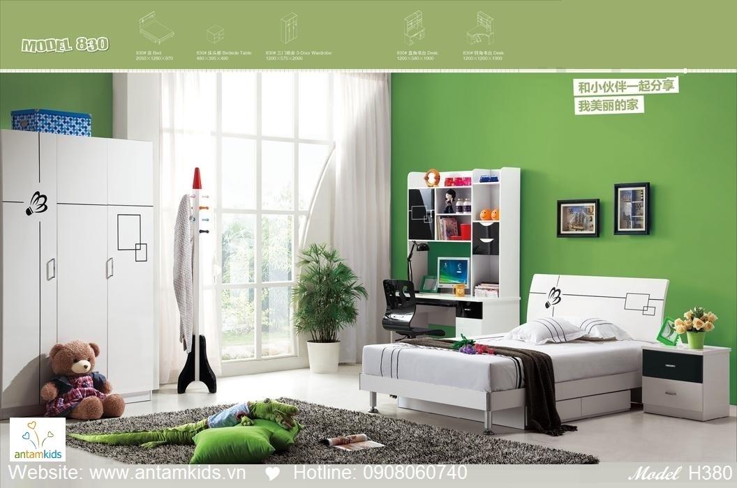 Phòng ngủ trẻ em H830 màu trắng tuyệt đẹp | Noi That Tre Em AnTamKids