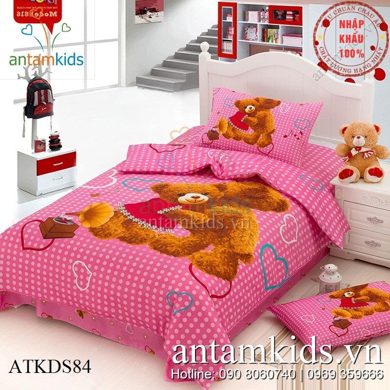 Chăn ga gối hình gấu Teddy Misa chấm bi hồng cực xinh cho bé gái