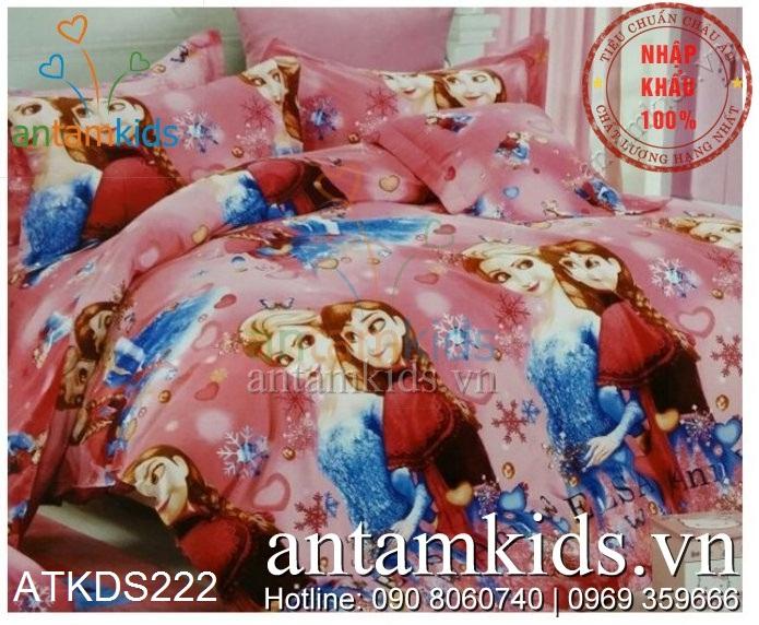 Chăn ga gối trẻ em hình Nữ hoàng Băng giá Frozen Anna Elsa cho em bé gái