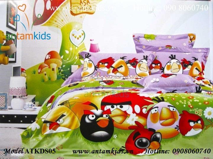 Chăn drap gối hình Angry Birds ATKDS05 cotton lụa màu tím mộng mơ tuyệt xinh yêu cho bé trai bé gái của bạn, mua bán tại Hà Nội, tp. HCM: 0908060740