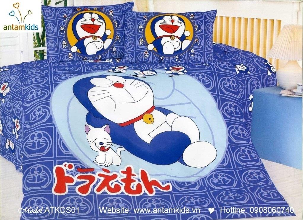 Chăn ga gối trẻ em, chăn ga gối hoạt hình Doremon Nhật bản cho bé trai bé gái