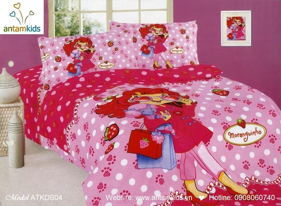 Bộ chăn ga gối cho bé gái  màu hồng cá tính sành điệu hình Công chúa dâu Tâyi