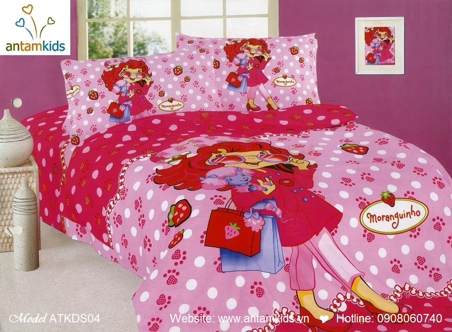 Bộ chăn ga gối hoạt hình trẻ em cho bé trai bé gái, cô bé dâu tây màu đỏ hồng  | AnTamKids.vn