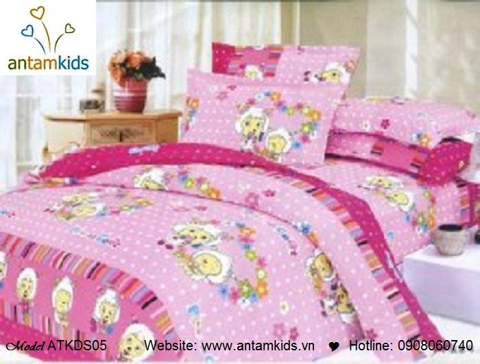 Bộ chăn ga gối hoạt hình trẻ em cho bé trai bé gái, chú cữu vui vẻ màu hồng | AnTamKids.vn