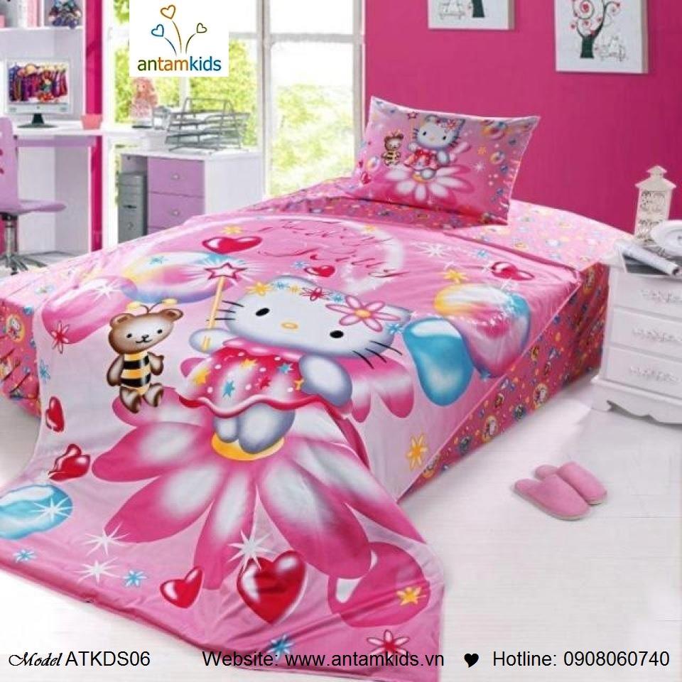 Chăn ga gối hoạt hình, Chăn ga gối trẻ em Hello Kitty màu hồng cho bé gái