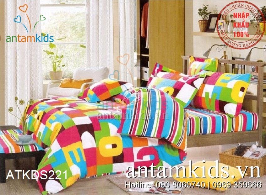 Chăn ga gối sắc màu tuổi thơ ABC cho bé trai bé gai ATKDS221