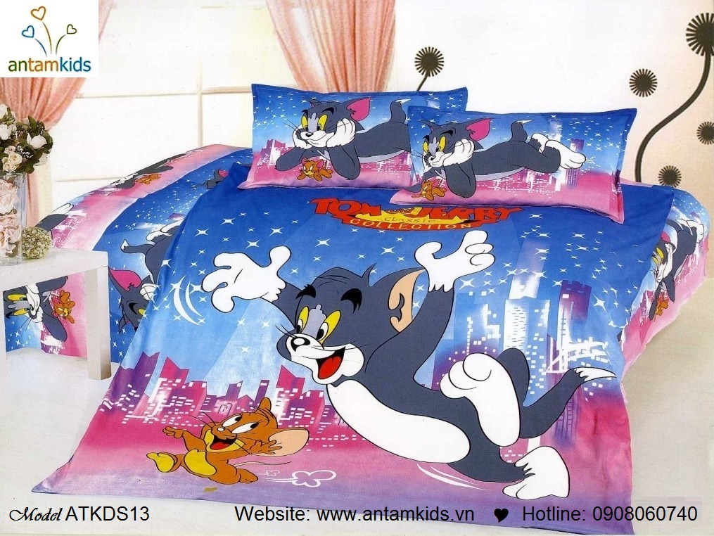 Chăn ga gối hoạt hình, Chăn ga gối trẻ em ATKDS13 Tom & Jerry Hà Nội| Noi That Tre Em AnTamKids.vn,Tom & Jerry
