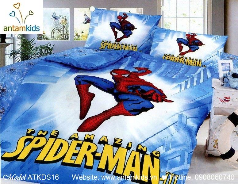 Chăn drap gối cho bé trai hình Người nhện Spider Man siêu nhân anh hùng