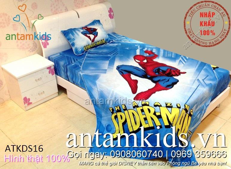 Bộ chăn ga gối hình Spider Man người nhện cho bé trai - AnTamKids.vn