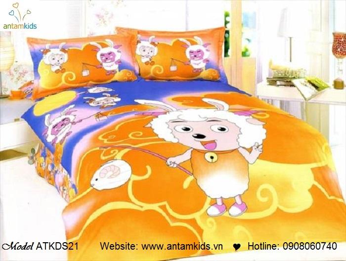 Bộ chăn ga gối hoạt hình trẻ em cho bé trai bé gái, chăn ga gối nhập khẩu 100% cotton  | AnTamKids.vn