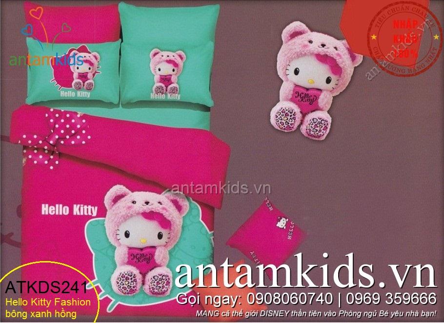 Chăn ga gối Hello Kitty, Drap trải giường in hình Hello Kitty dễ thương cho bé gái