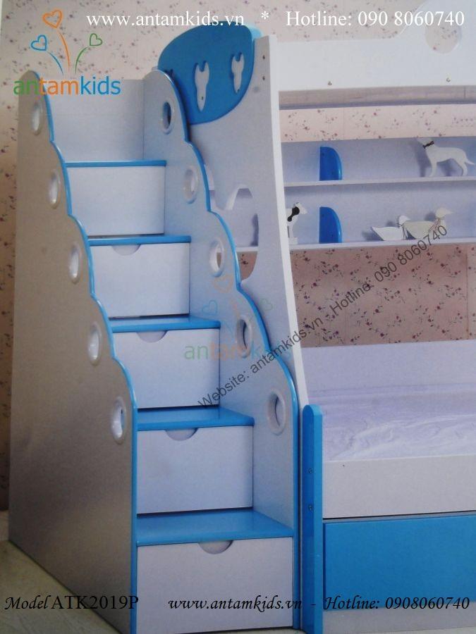 Giường 3 tầng Mickey xanh ATK2029P xinh xắn cho bé trai bé gái!