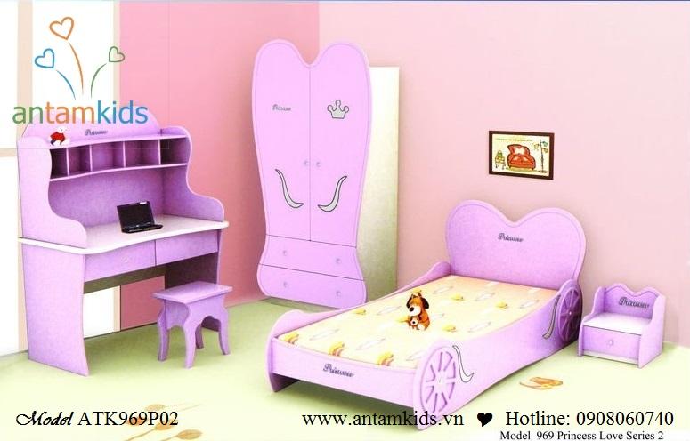 giường, tủ áo, bàn học đồng bộ cho phòng công chúa nhỏ xinh của bạn   AnTamkids.vn