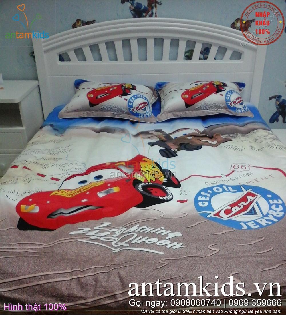 Chăn ga hình ô tô McQueen cho be trai - AnTamKids.vn