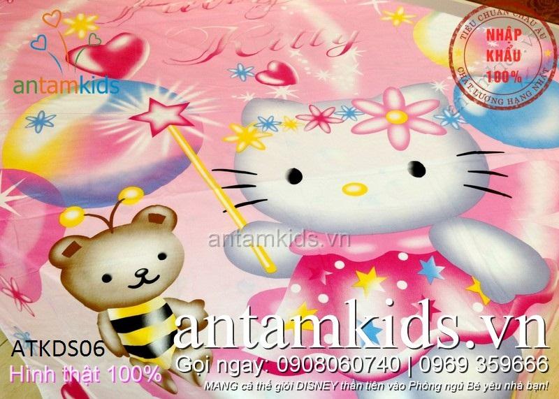 Chăn ga gối Hello Kitty màu hồng cho be trai be gai antamkids.vn