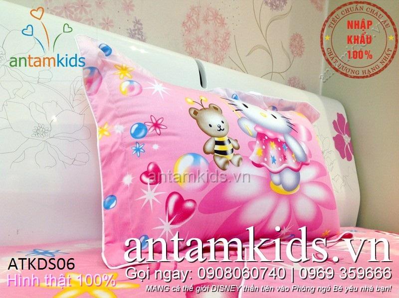 Chăn ga gối trẻ em hình Hello Kitty màu hồng cực xinh xắn cho bé gái