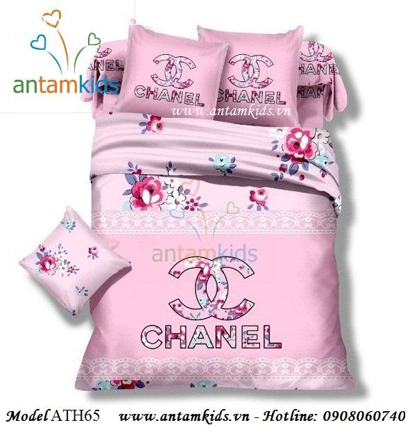 Bộ Drap mền Thương hiệu nổi tiếng Chanel hồng hoa xinh ATH65
