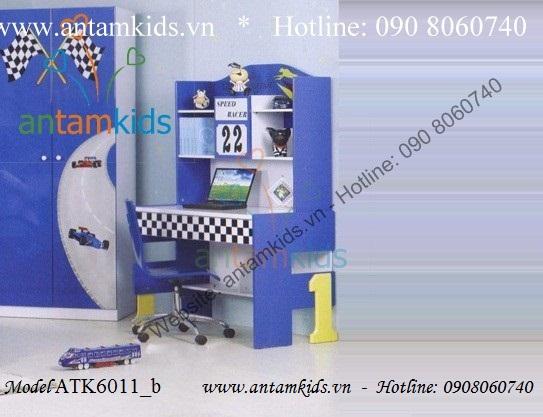 Bàn học cho bé trai mê Oto màu xanh ATK6011_b