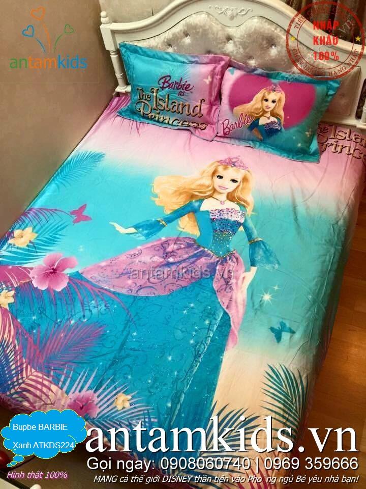 Chăn ga gối Barbie Princess xanh hồng duyên dáng đáng yêu cho bé gái