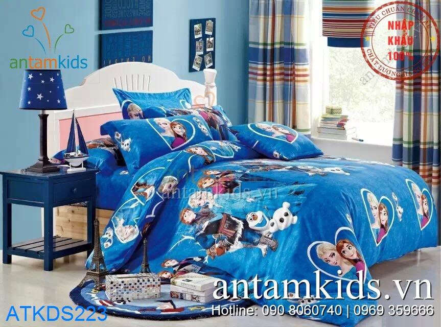 Chăn ga gối Frozen Vương quốc băng giá màu xanh huyền diệu ATKDS223