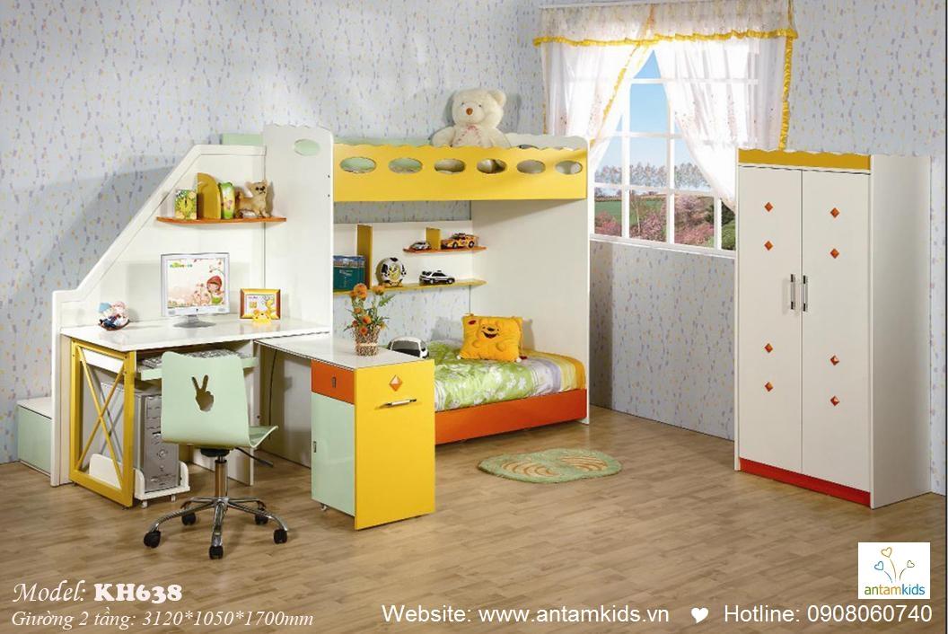 Giường tầng trẻ em KH638, giuong 2 tang tre em, giuong 2 tang cho be