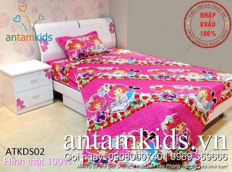 Chăn ga gối hoạt hình công chúa màu hồng cho bé gái -  antamkids.vn