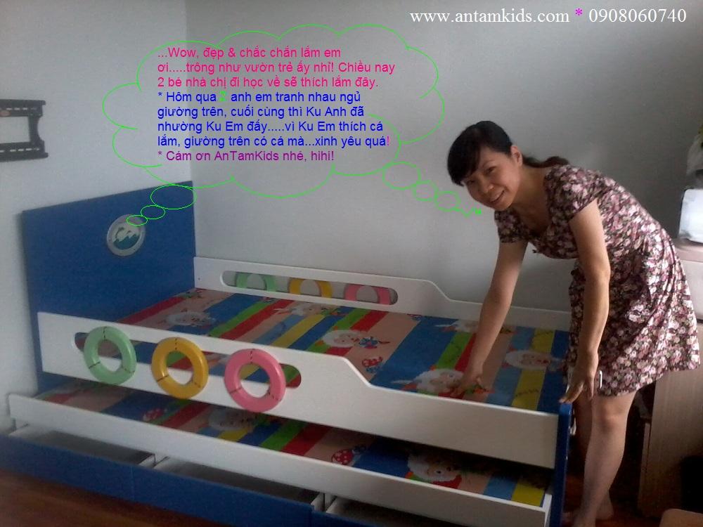 Giường 2 tầng kéo hình tàu thủy màu xanh xinh xắn tuyệt đẹp cho bé trai bé gái | AnTamKids.vn