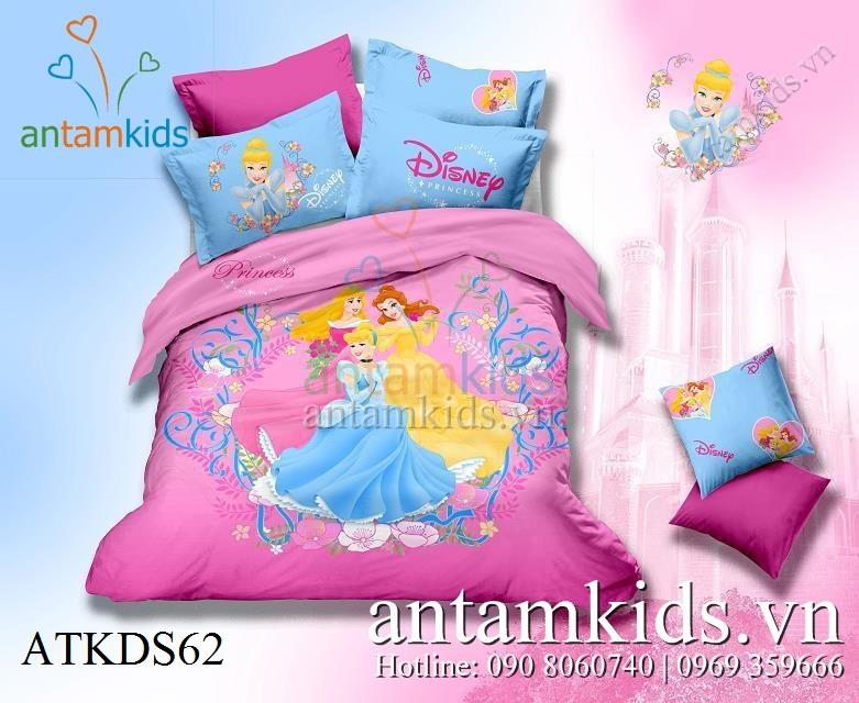 Bộ chăn drap gối 3 nàng Công chúa Disney 5D cực xinh đẹp cho bé gái