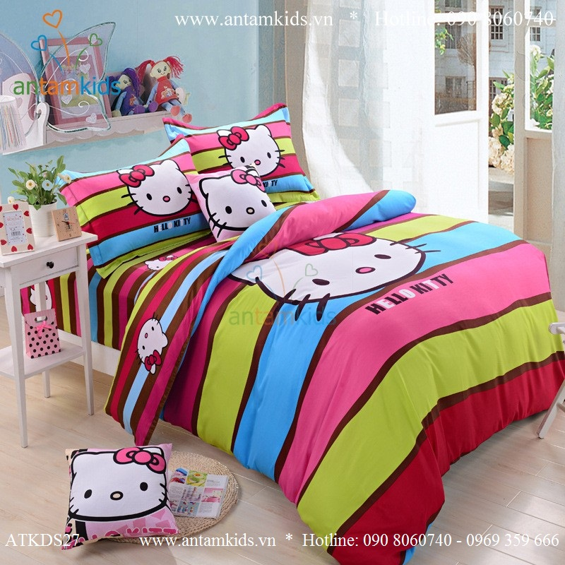Bộ chăn ga gối hình Hello Kitty, Chăn ga gối Hello Kitty, Mền drap gối Hello Kitty đẹp antamkids.vn
