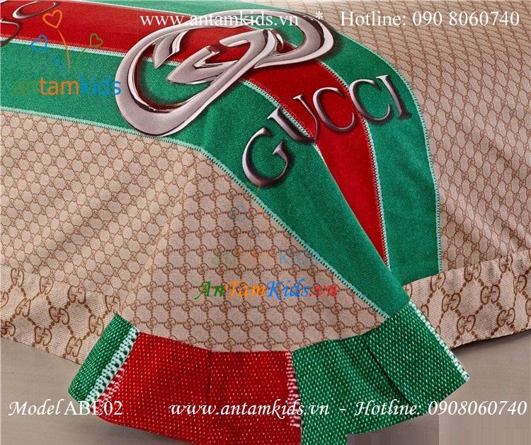 Chăn ga gối thương hiệu hàng hiệu Gucci màu xanh phong cách ABL02