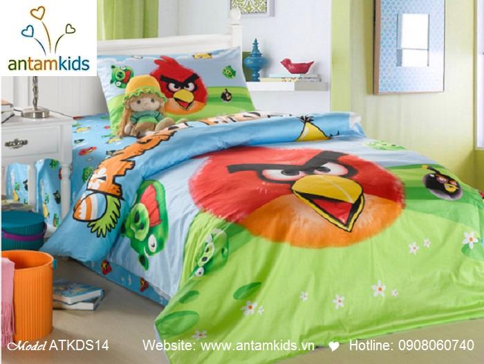 Bộ chăn ga gối Angry Bird thật xinh xắn, Chăn ga gối hoạt hình cho bé trai bé gái
