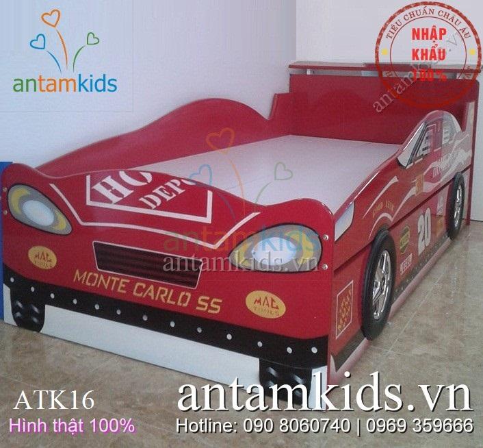 Giường ngủ hình xe ô tô 2 tầng đẹp cho bé trai ATK16
