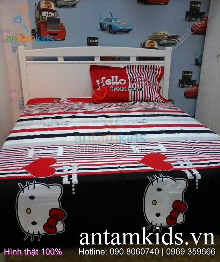 Bộ Chăn mền drap gối  in hình Hello Kitty xinh xắn dễ thương dành cho bé gái yêu thích mèo Hello Kitty