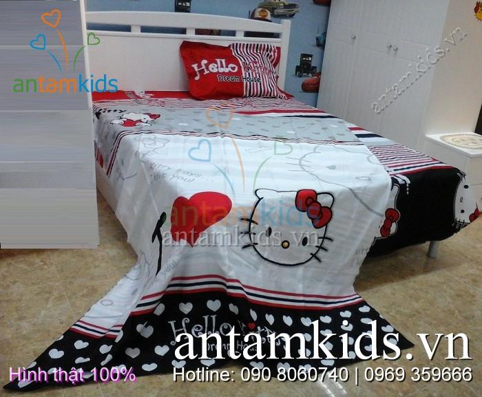 Bộ Chăn ga gối Hello Kitty, mền drap gối Hello Kitty xinh xắn dễ thương dành cho bé gái yêu thích mèo Hello Kitty