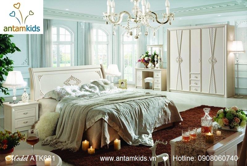 Nội thất phòng ngủ Mary ATK681 trắng bóng đẹp sang trọng - AnTamKids.vn