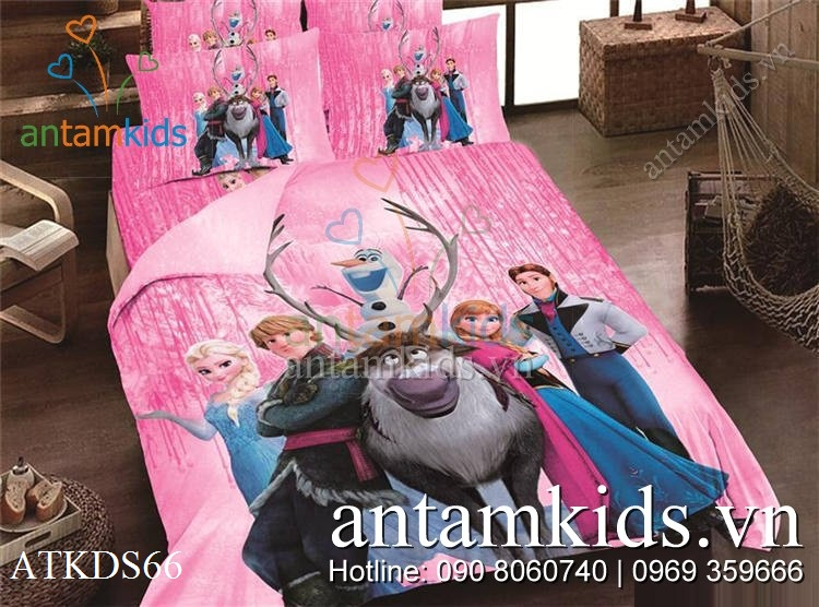 Chăn ga Công chúa Băng giá và Hoàng tử Lạnh lùng màu hồng cho bé gái ATKDS66