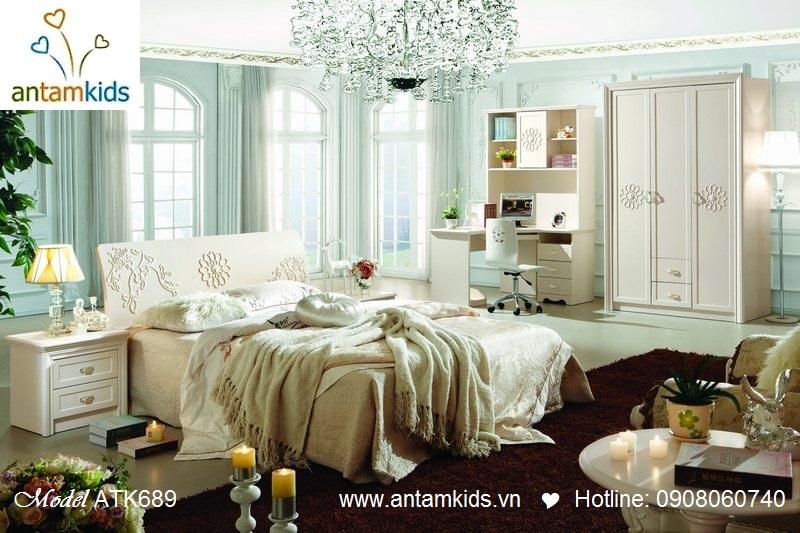 Bộ phòng ngủ Mary ATK682 cao cấp nhập khẩu màu trắng - AnTamKids.vn