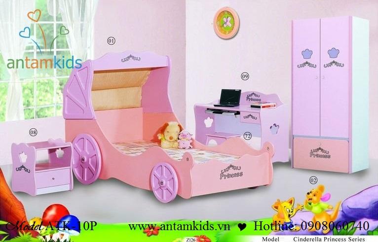PHÒNG NGỦ CÔNG CHÚA ATK-10 - màu hồng xinh cho bé gái | ANTAMKIDS.VN, giuong NGU CONG CHUA
