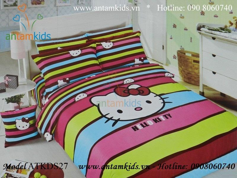 Chăn ga gối Hello Kitty, Mền drap gối Hello Kitty đẹp, Bộ chăn ga gối hình Hello Kitty antamkids.vn