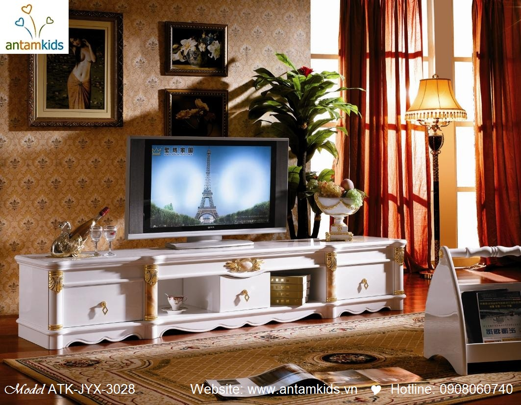 Kệ TV cổ điển châu Âu sang trọng