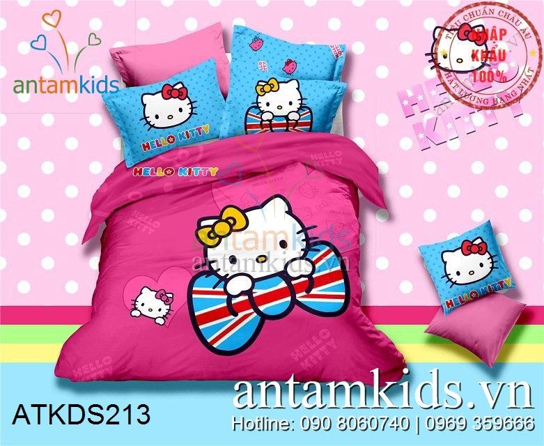 Chăn ga gối Hello Kitty màu hồng cực xinh xắn đáng yêu cho bé gái