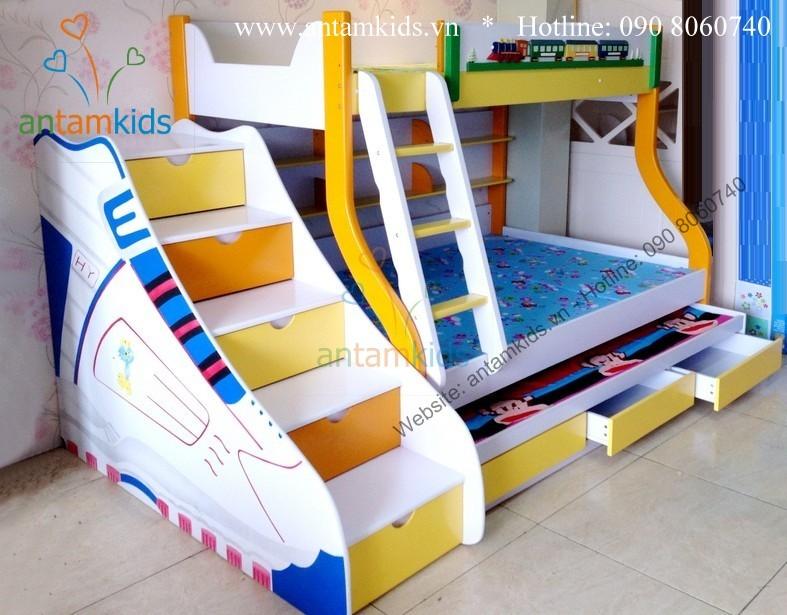 Giường 3 tầng trẻ em ATK688 màu cam vàng trắng có hình đôi giày rất xinh xắn đáng yêu, chất lượng cao cấp phù hợp cho bé trai bé gái của bạn, LH 0908060740