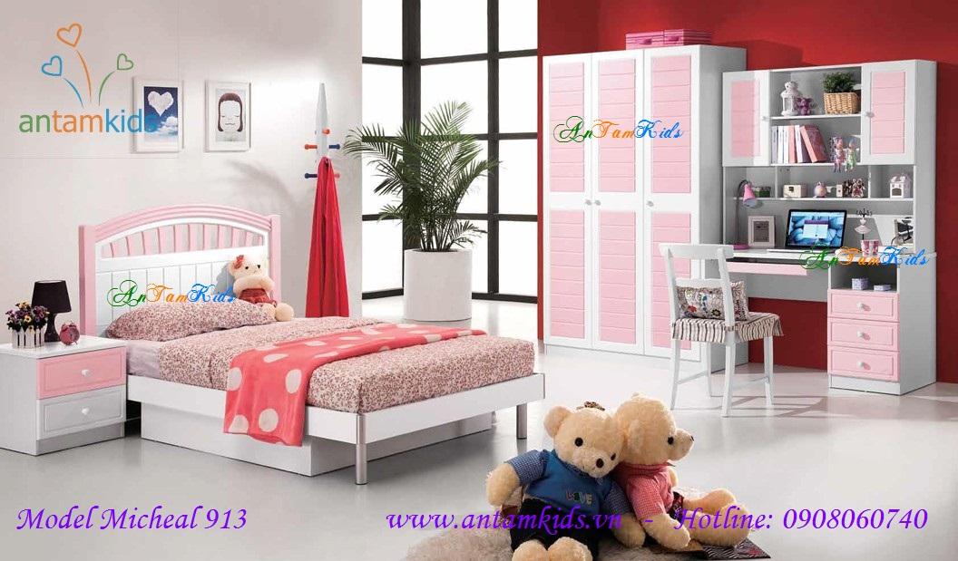 Phòng ngủ cho bé gái Michael 913 màu hồng cực Kute  - antamkids.vn