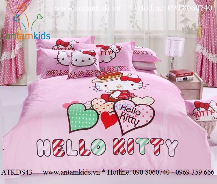 Bộ chăn ga gối Hello Kitty trái tim hồng nhập khẩu cực điệu cho bé gái