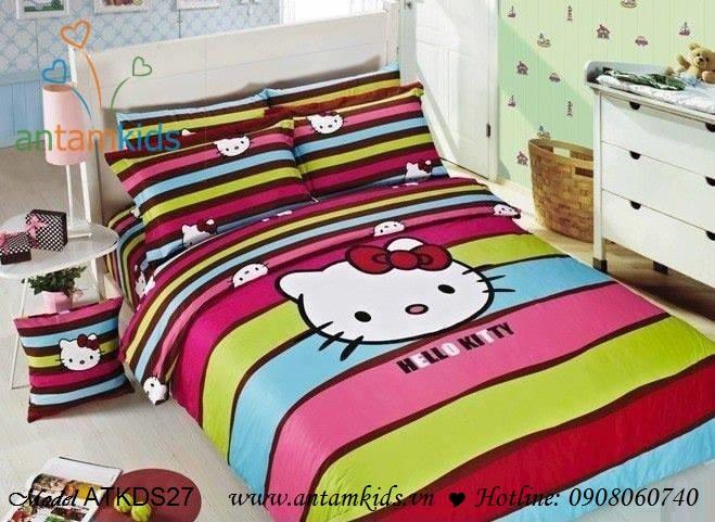 Bộ chăn ga gối hoạt hình cotton lụa Hello Kitty cho bé gái, chan ga goi hoat hinh