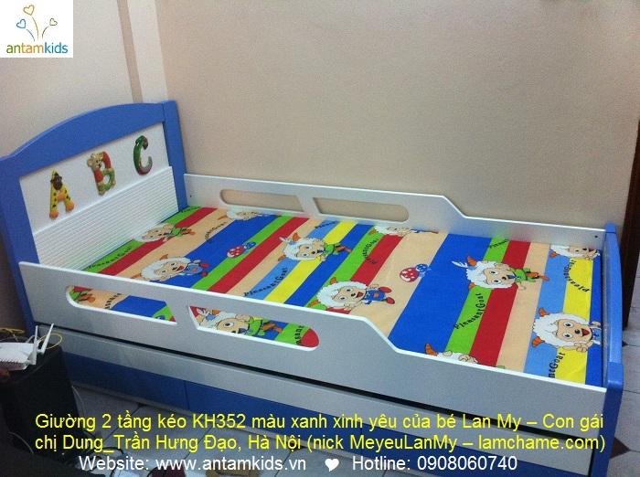 Giường 2 tầng kéo, giuong ngu dep cho be trai be gai | AnTamKids.vn