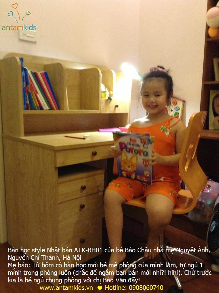 Bàn học style Nhật bản ATK-BH01 của bé Bảo Châu, ban hoc tre em, ban hoc hoc cho be, ban hoc gia sach, ban hoc hoc sinh
