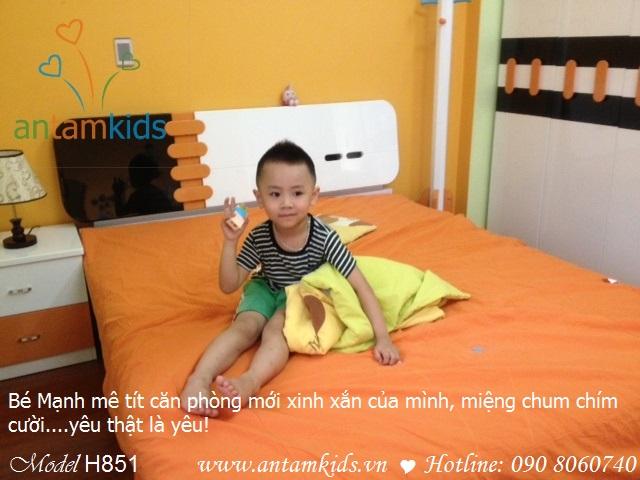 Phòng ngủ giường tủ màu cam kute xinh xắn của bé Đỗ Mạnh con mẹ Phương Nga_Bắc Kạn, AnTamKids.vn, noi that phong ngu ve trai