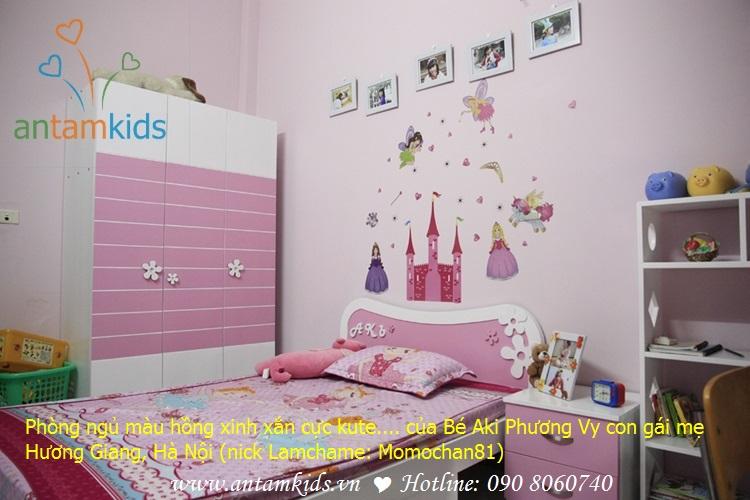 Phòng ngủ màu hồng xinh xắn cực kute của Bé Aki Phương Vy nhà mẹ Momochan81 - Lamchame, AnTamKids.vn